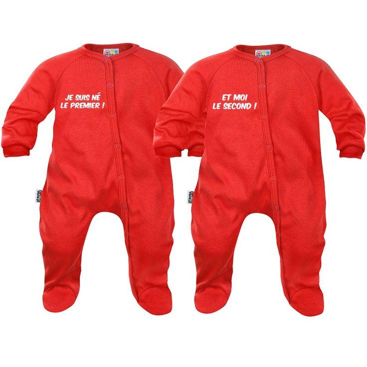 Pyjamas bébé jumeaux : né le premier / né le second - SiMedio