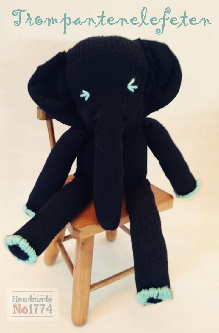 socks animal - Sockentier - Socke - Kuscheltier - Elefant - Kind - Baby - Handmade - elephant - Schlaf - Traum - Retro - schwarz