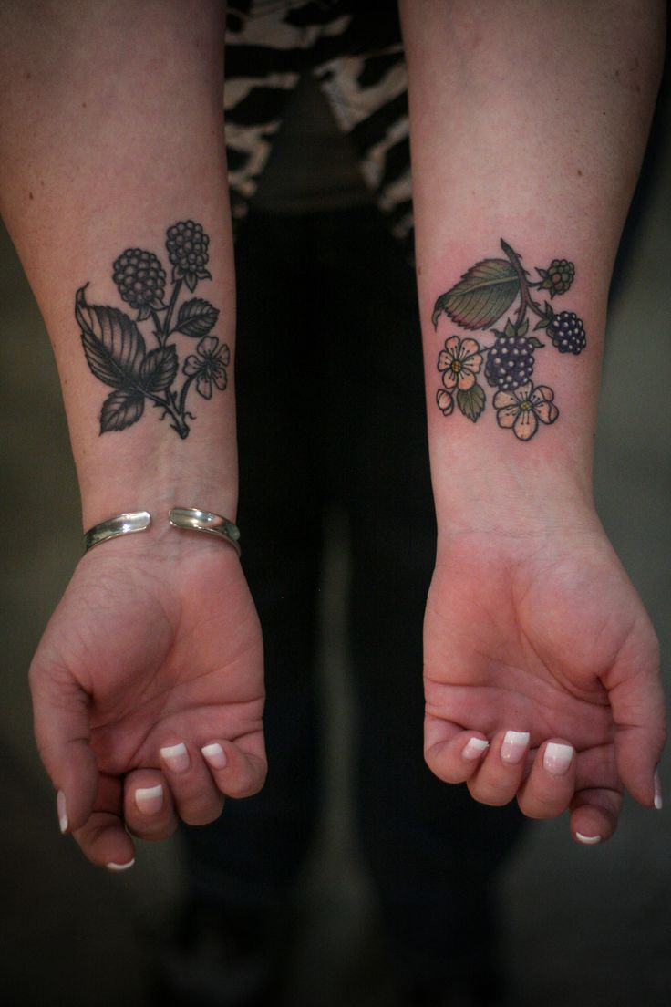 Blackberry wrists for Mary, by our newest addition, Savannah Trevino @savvytattoos!! black and grey healed, color fresh