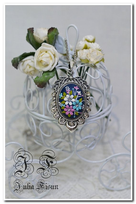 Shaped Pendant Necklace Happy June Floral Jewelry Feminine Necklace Polymer Clay Applique Floral Necklace Embroidery Filigree Technique