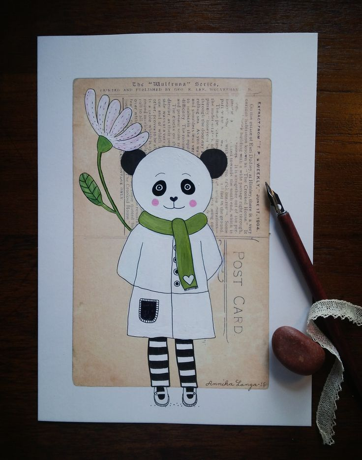 Panda bear with flower, painted on an old postcard. By Annika Langa.