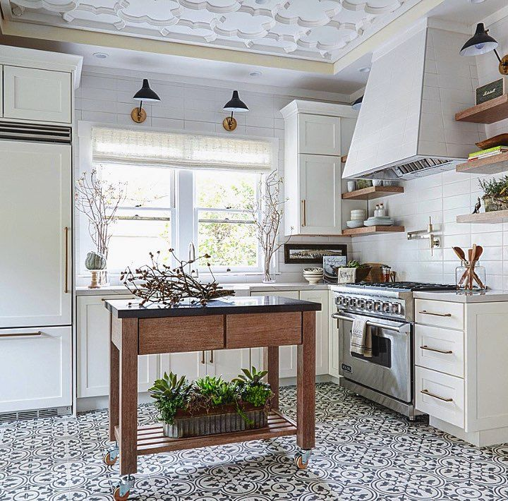 Black and white cement tile for floors and walls.