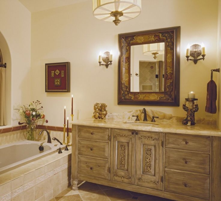Bathroom, : Classy Design Ideas Using Brown Chandeliers And Rectangular Brown Mirrors Also With Rectangular Cream Bathroom Vanity And Rectangular Cream Bathtubs