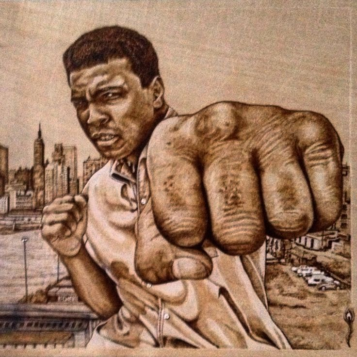 Ali pyrography portrait by Martin peacock