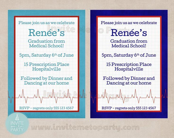 Medical School Graduation Invitation / Doctors Party / Nurses Party   Invite Me To Party: Medical Party / Doctors Party / Nurses Party / Graduation Party