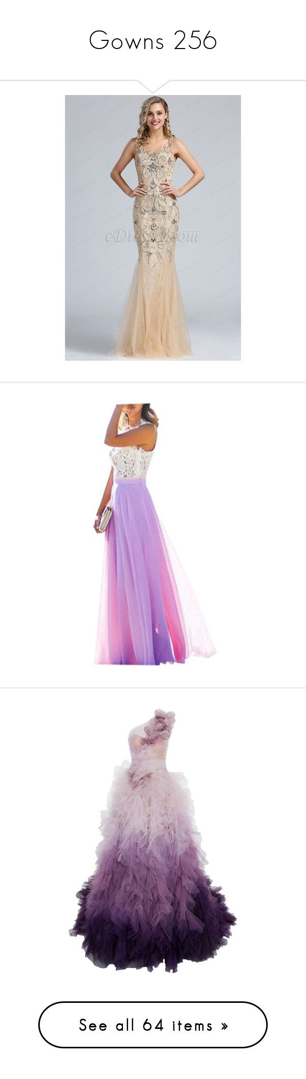 """""""Gowns 256"""" by singlemom ❤ liked on Polyvore featuring dresses, beige prom dresses, sleeveless prom dress, beige cocktail dress, no sleeve dress, sleeveless dress, purple, white chiffon dress, white evening dresses and prom dresses"""