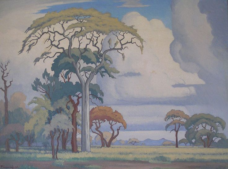J.H. Pierneef (1886 – 1957) Oil Acacia Trees & Clouds