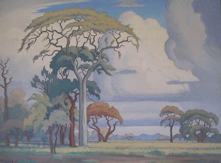 J.H. Pierneef (1886 – 1957) Oil Acacia Trees & Clouds