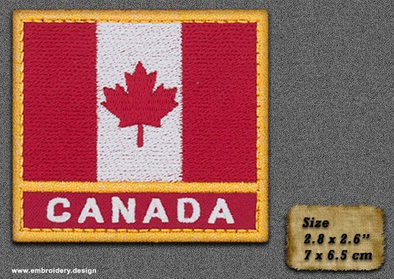 5 QTY Patch Flag of Canada with a title and metallic by EmbroSoft