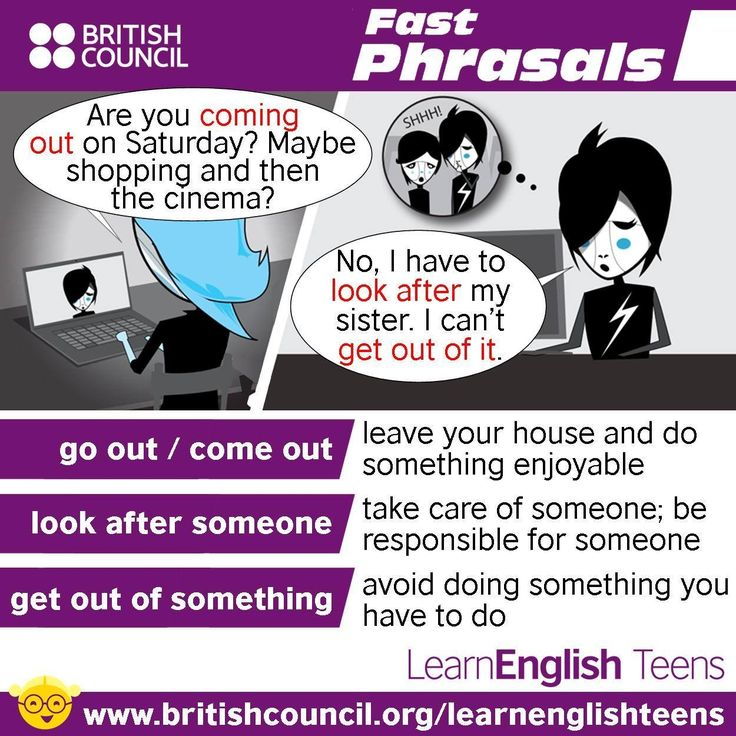 Fast Phrasals / Phrasal Verbs: go out / come out, look after someone, get out of something