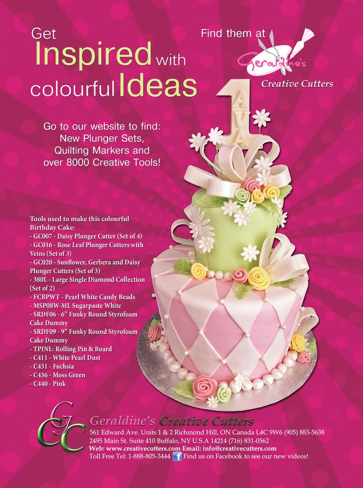Get inspired with amazing and creative ideas for your cakes! Visit our website to find a wide variety of great products for cake decorating! #flowers #cakes #baking Cake made by Geraldine Randlesome from Creative Cutters.