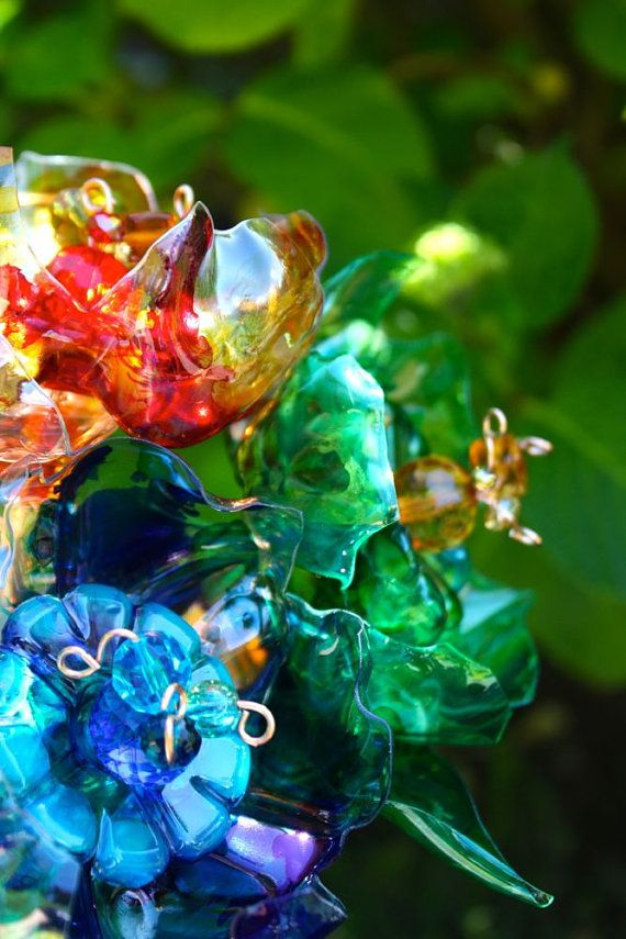 1049 best images about plastic flowers on pinterest for Flowers in glass bottles
