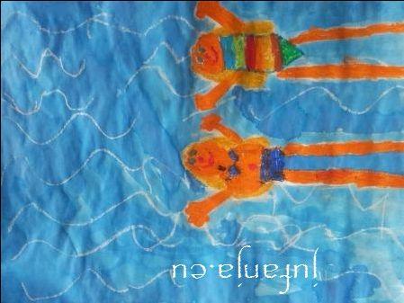 Print PDF Teken eerst met witte wasco de golven van het water (in het zwembad) Teken hierna met wasco jezelf...