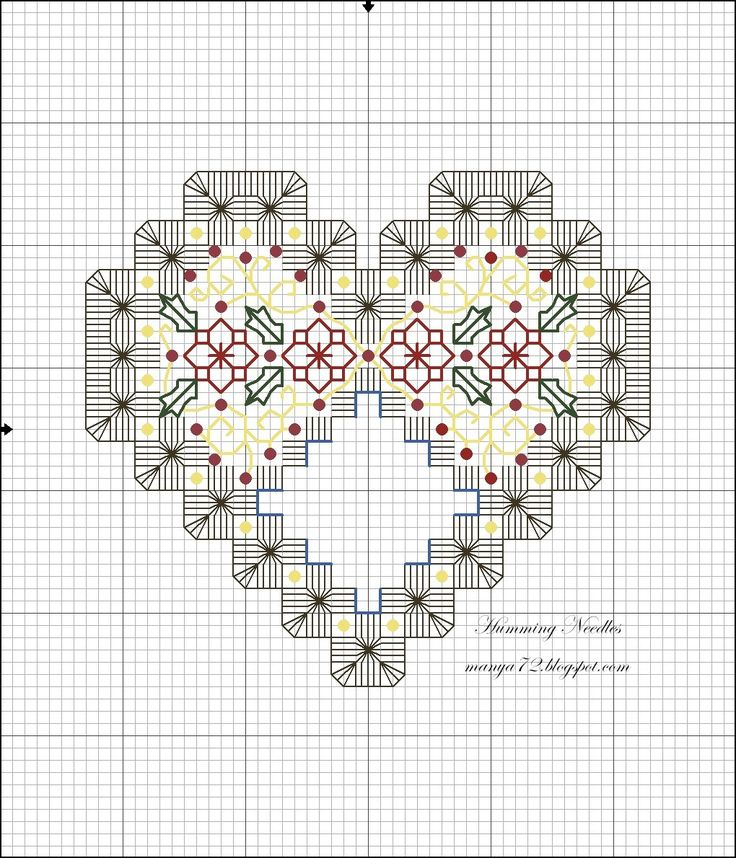 Christmas Heart Ornament Hardanger Pattern