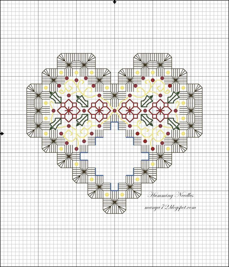 Christmas Heart Ornament Hardanger Pattern