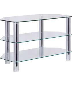 Home Matrix Glass Corner Tv Unit Clear Amp Chrome Corner