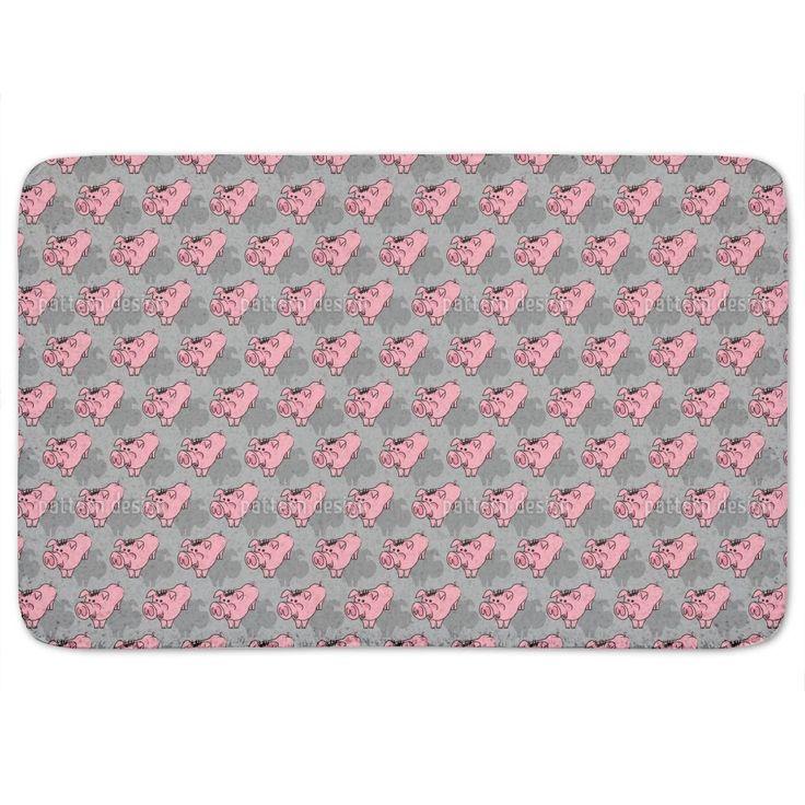 Uneekee Piggies Grey Bath Mat