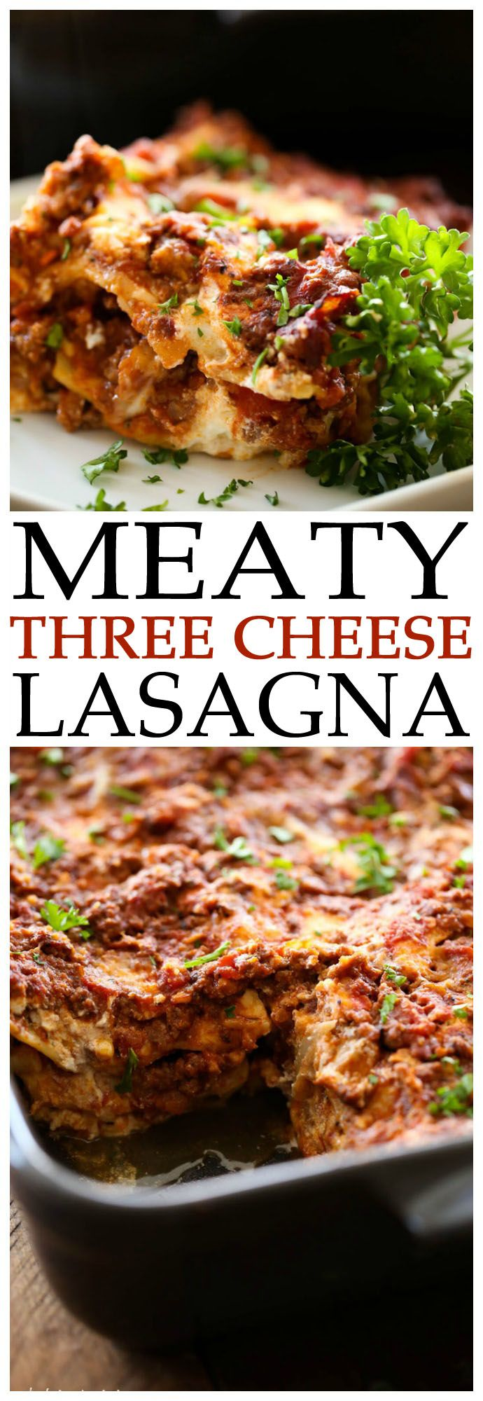Meaty Three Cheese Lasagna... this is honestly THE BEST lasagna I have ever…