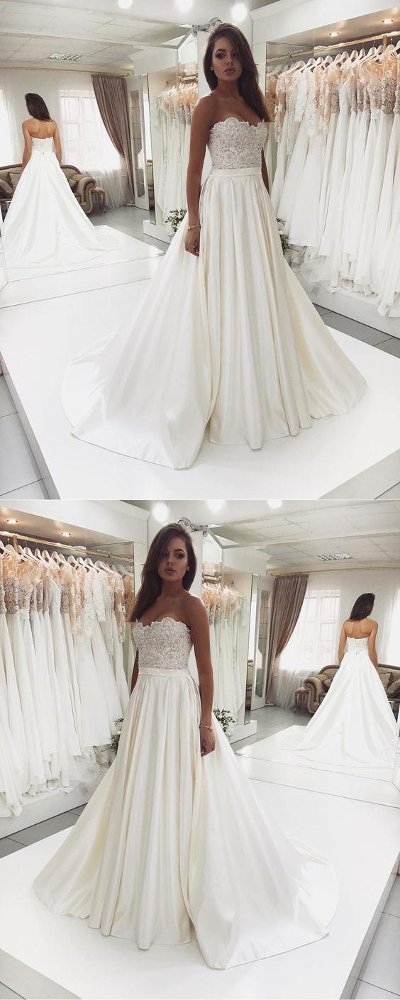 Sweet Heart Satin Beaded Wedding Dress A Line Backless Lace Top