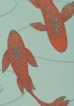 142,90€ Prix par rouleau (par m2 27,32€), Papier peint effet spécial, Matériel de base: Papier peint intissé, Surface: Effet aluminium, Lisse, Aspect: Motif chatoyant, Surface mate, Design: Poissons, Libellules, Couleur de base: Turquoise pâle, Couleur du motif: Turquoise menthe, Orange rouge pailleté, Caractéristiques: Bonne résistance à la lumière, Difficilement inflammable, Arrachable à sec, Encollage du mur, Lessivable