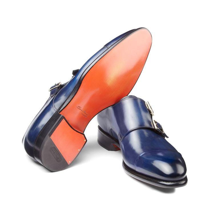 Double-buckle leather shoes  /  Santoni