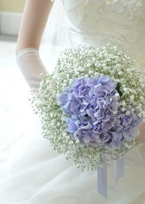かすみ草とアジサイのブーケ/横浜の結婚式場モンテファーレ/フラワーサロンエステル