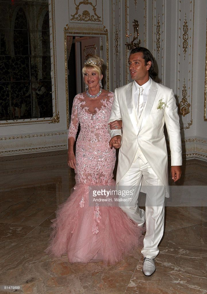 RATES - Ivana Trump and Rossano Rubicondi arrive at the reception for the wedding of Ivana Trump and Rossano Rubicondi at the Mar-a-Lago Club on April 12, 2008 in Palm Beach, Florida. Ivana Trumps jewelry is by Leviev, a diamond bracelet, earrings and necklace totaling 150 carats. Her hair is by Clifford and her make-up by Pablo Rodriguez. Rossano Rubicondi wears Dolce & Gabbana.