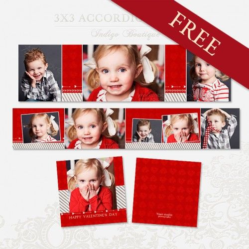 Free 3x3 Accordion Album Template for Photographers - Valentine - photo album templates free