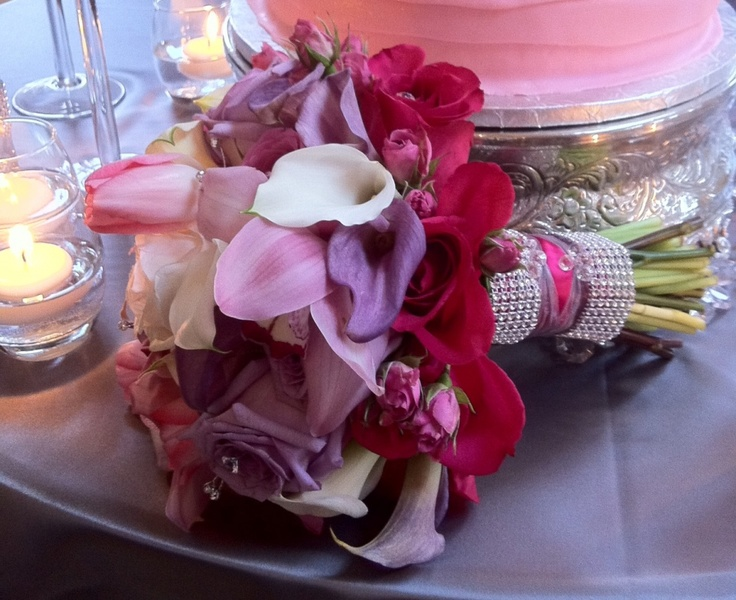 Pink & purple bouquet with mini callas & roses