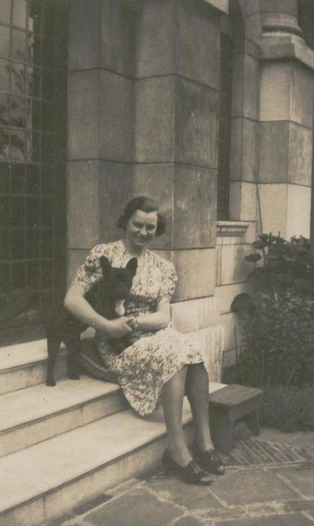 Woman with french bulldog