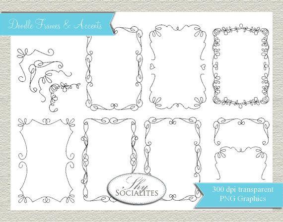 Clip Art Doodle Frames / PNG Doodle Frames / Doodles / Doodle Drawings / Shabby Chic Frames