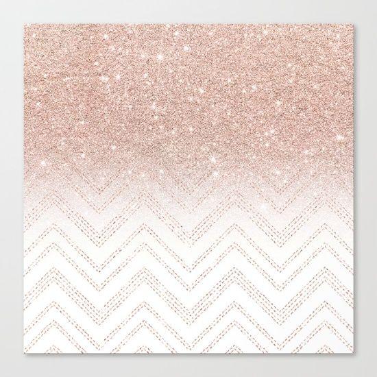 Modern faux rose gold glitter ombre modern chevron stitches pattern Canvas Print