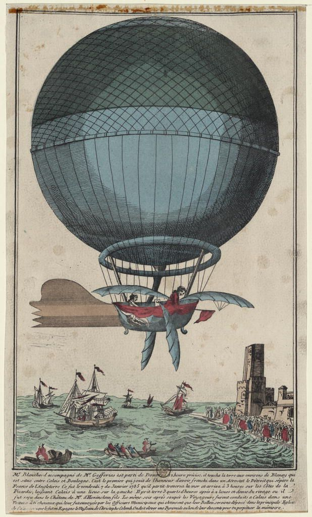 """Jean Pierre Blanchard and Boston physician John Jeffries first flight crossing the English Channel in Blanchard's hydrogen balloon, 1785. From the Landauer Collection of Aeronautical Prints and Drawings. Also exhibited in The Dream of Flight"""" : American Treasures of the Library of Congress  http://www.loc.gov/exhibits/dreamofflight/index.html"""
