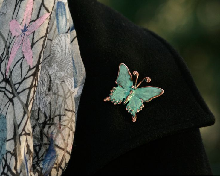 Butterfly Brooch. This tiny sculpture has a lovely blue green patina. Handcrafted using lost wax, silver pewter and copper. Visit our online store to view this and other creature creations. www.etsy.com/store/EarthlyCreature