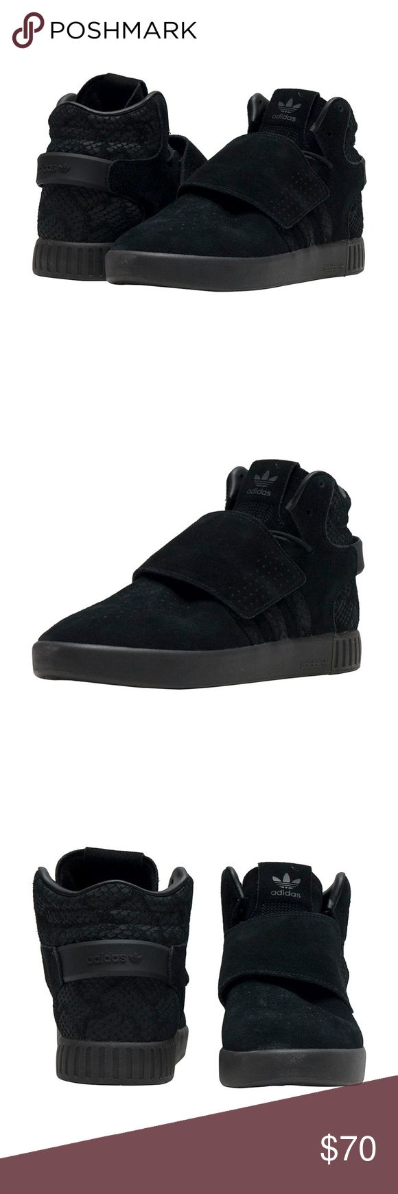 New Adidas Tubular Invader Strap J Sneakers Black New with box Youth Adidas Tubular Invader Strap J in black on black sneakers. Suede upper with suede and embossed suede 3-Stripes (Looks like snake skin)  Comfortable textile lining.   Unisex Grade school sizes.   5 star rated seller & Poshmark ambassador.  Check out our other Adidas Tubular Strap listing. Various colors and sizes for men, women, and children. adidas Shoes Sneakers