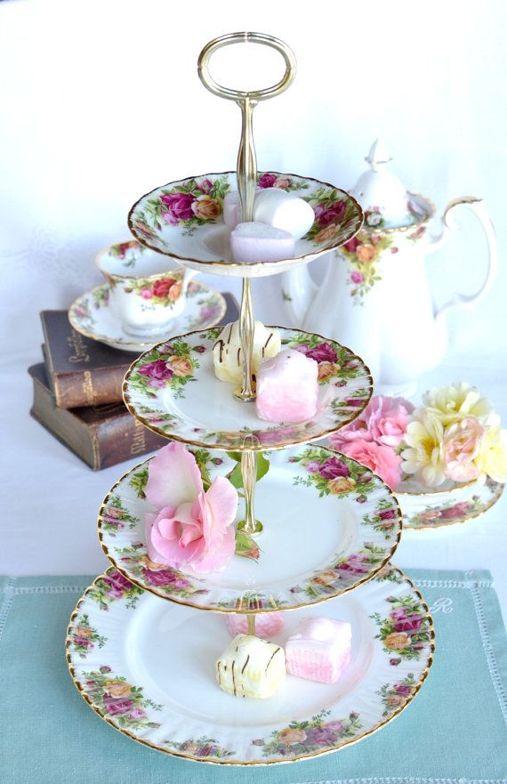 Royal Albert Old Country Roses  Tier Cake Stand