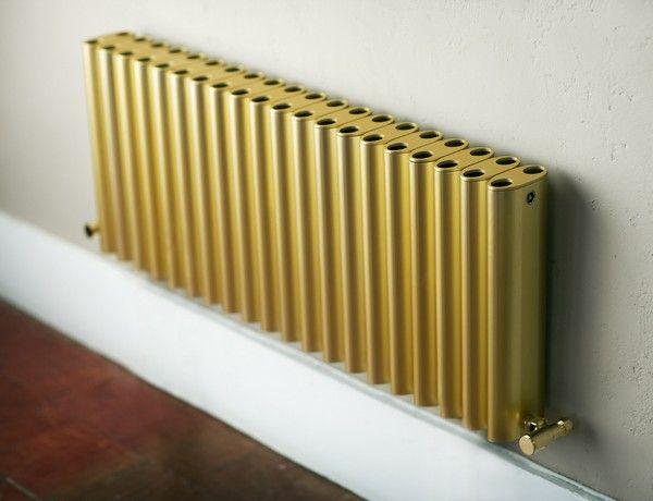 RON radiator from eskimo - Gold anodised finish and matching gold valves. www.eskimodesign.co.uk