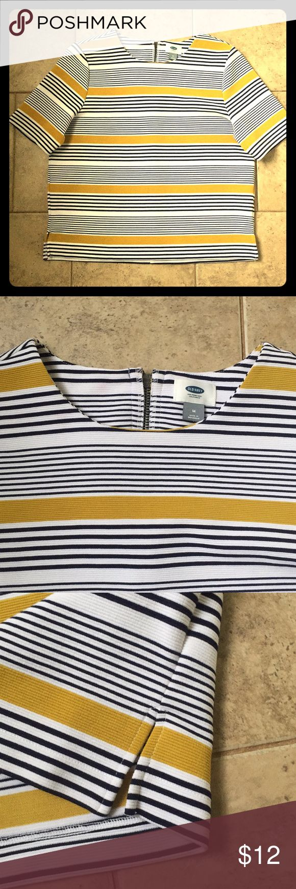 Old Navy Short Sleeve Top New, worn once, top zip back closure, Navy, Gold and white stripes Old Navy Tops Blouses