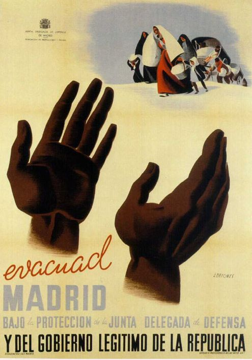 By José Briones (1905-1975), 1937, Evacuad Madrid, Republican poster Spanish Civil War. (Spain)
