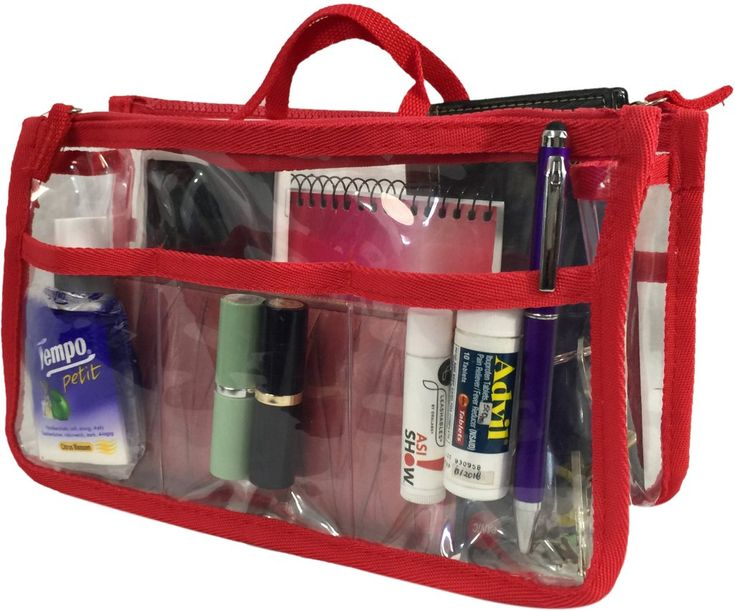 Wholesale Handbag Organizer - Clear/Red (Case of 20)