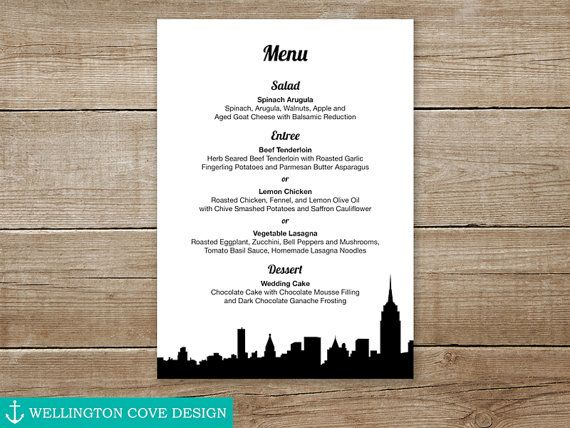 NYC Skyline Menu for Wedding, Rehearsal Dinner, Bridal Shower by WellingtonCoveDesign • New York City