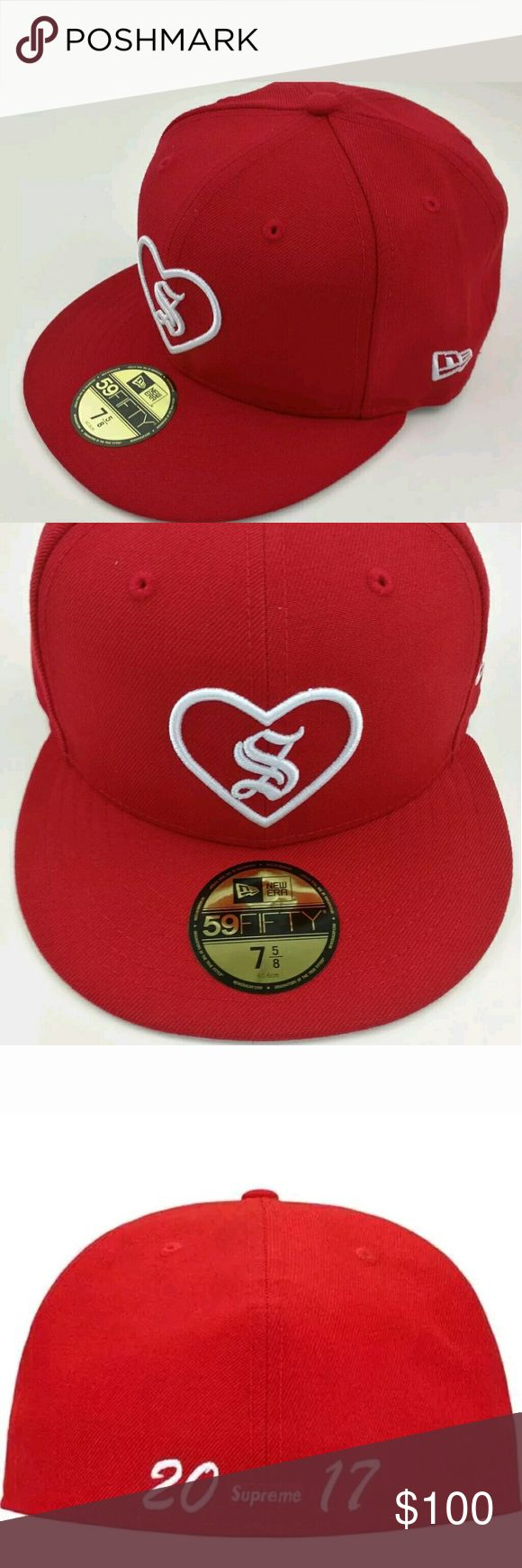 SUPREME NEW ERA HEART FITTED CAP HAT RED Sz 7 5/8 Excellent gift for a loved one or yourself.  Sold out at the Supreme store and online.  Fall Winter 2017 collection 100% Authentic Supreme Accessories Hats