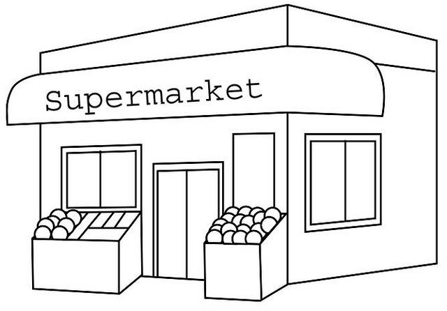 Grocery Store Coloring Page   Școală   446x640