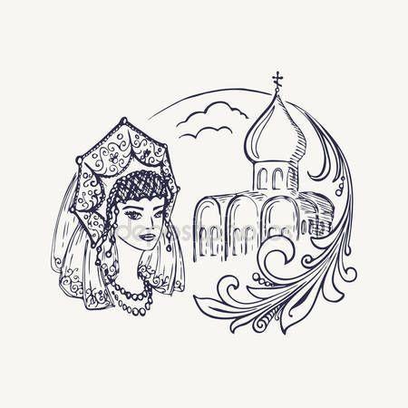 Stylized drawing of the church, girls in kokoshnik and Khokhloma branch. Vector illustration
