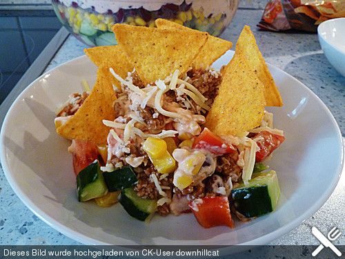 Taco - Salat, ein raffiniertes Rezept aus der Kategorie Raffiniert & preiswert. Bewertungen: 80. Durchschnitt: Ø 4,7.