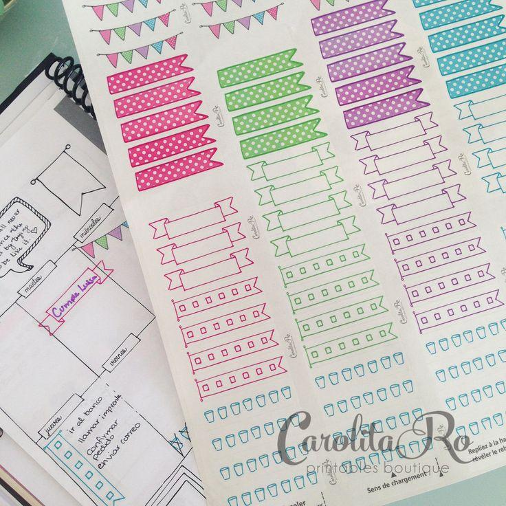Doodle planner filofax stickers printer ready (3.50 USD) by CarolitaRoPrintables