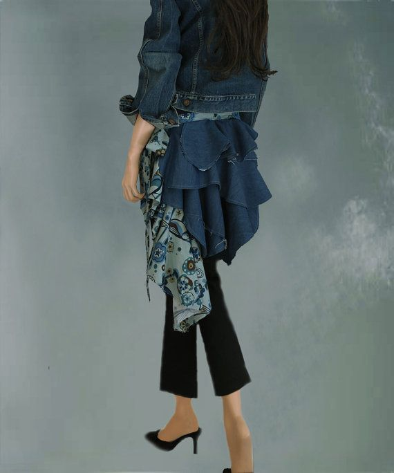 Sale womens denim contemporary designer cover up tratgirl on Etsy, $39.99