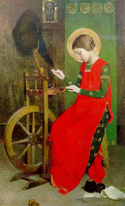 Marianne Stokes. St.Elizabeth of Hungary Spinning for the Poor