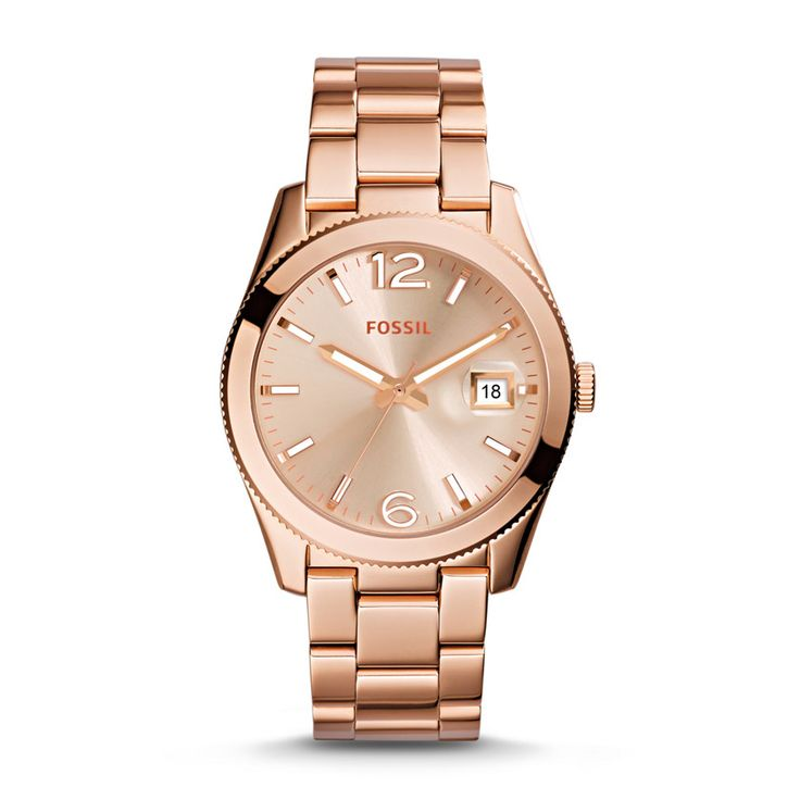 Fossil Perfect Boyfriend Three-Hand Date Stainless Steel Watch in Rose Gold