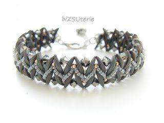 An effective looking bracelet is about 2 cm (0,8 in) in width. As long as you wish:-)  Material you need: Crescent beads (74 pcs for a 15 cm (cca 6in)